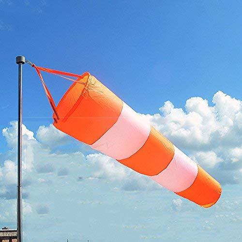 Resignmed Flughafen-Windsack, Ripstop-Gewebe, zur Messung des Windes, mit reflektierenden Elementen, Öse, 80cm