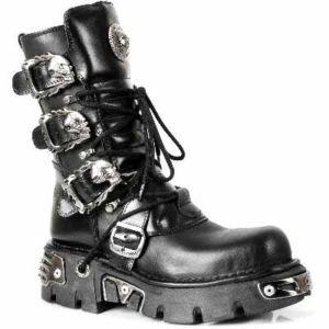 New rock femme nEWROCK métallique reactor gote motocyclistes negro bottes mixte Noir - Noir