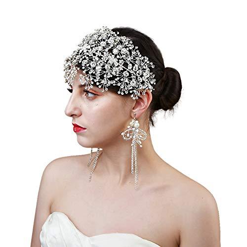 TOPQUEEN Braut Kopfschmuck Braut Haar Rebe Hochzeit Stirnband Perlen Blumen Braut Haarschmuck