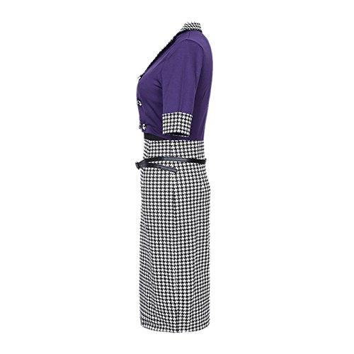 Dissa DT60 Damen Mode Knielang Abendkleid Kleid Violett