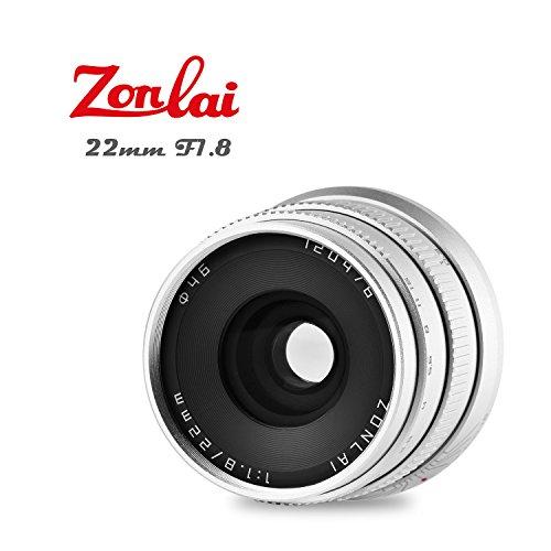 Zonlai 22mm f1.8grande apertura, focus manuale, prime lente per fotocamera digitale canon eos-m mirrorless, eos m2m3m5m6m10m100argento