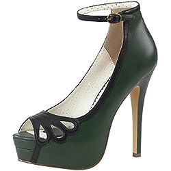 Knöchelriemchen Pumps Pin Up Couture grün/schwarz BELLA-31 Grün, EU 37