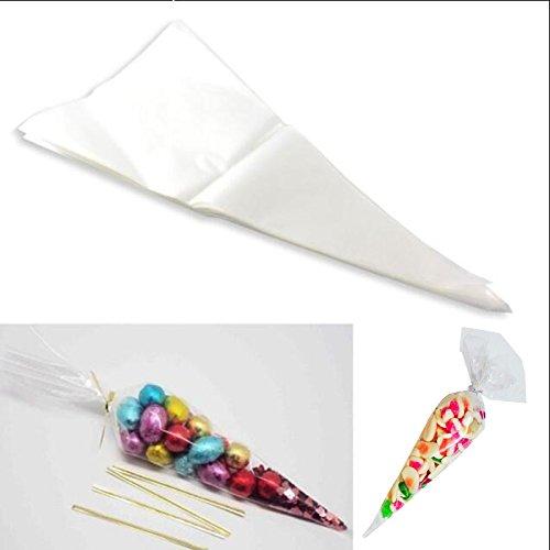 Kicode 100 PCS/Sac Cellophane Cône Sacs en Plastique Gadget d'alimentation de Bonbons à la Violette