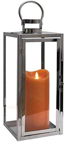 Dekovita Edelstahl-Laterne 49cm inkl Tronje LED-Echtwachskerze 23cm Orange Stumpen Timer bew. Docht Leuchtdauer 800 St. -