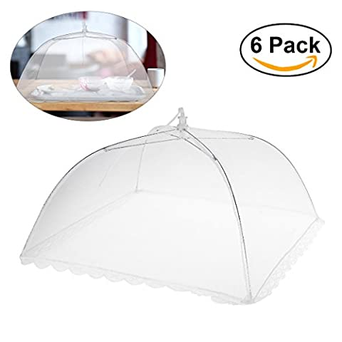 BESTOMZ 6pcs Popup Large Mesh Screen Food Cover Tent, Collapsible Outdoor Food Cover Keep Out Flies, Bugs, Mosquitoes