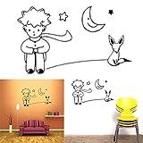 F-blue Wall Sticker Cartoon Piccolo Principe Fox Luna Stella Art Decalcomania del Vinile