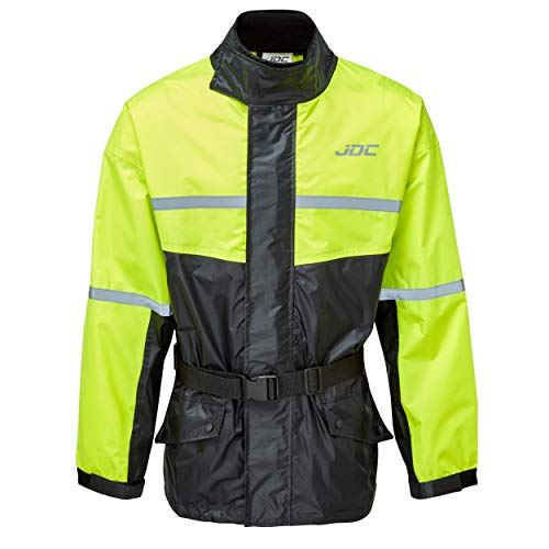 JDC Chaqueta De Lluvia Para Moto Impermeable De Alta Visibilidad - SHIELD - Amarillo/Negro - M
