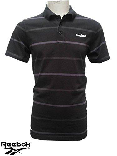 Polo REEBOK Herren Hemd Schwarz gestreift neue Größe Klein
