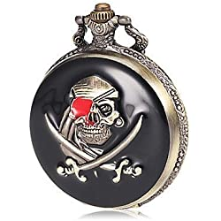 Skull & Crossbones Pirate Black & Bronze Pocket Watch & Chain