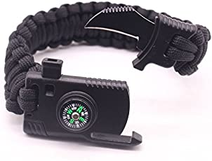 JISEN Outdoor Paracord Bracelet Survival Gear Kit with Embedded Compass Fire Starter Emergency Knife Whistle for Camping Hiking Travel