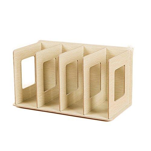 TXXCI Holz 4 Abschnitte Desktop Bücherregal Bücherregal CD Lagerung Sortierung Buchstützen Büro Tragen Regale-L28 * W13 * H13cm (Color : White maple)