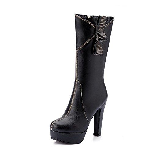 AgooLar Damen Reißverschluss Hoher Absatz PU Stiefel mit Metallisch, Weiß, 32