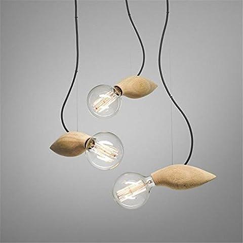 Creative moderne Pendentif Lumière Lampe Balcon Petit pendentif de bois Loft Ampoule lampes suspendues escalier décoré Lampe Bee 1 head,90*200mm