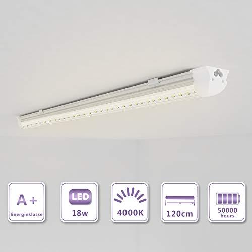 OUBO 120cm LED Leuchtstoffröhre komplett Set mit Fassung Neutralweiss 4000K 18W 2400lm Lichtleiste T8 Tube mit klarer Deck