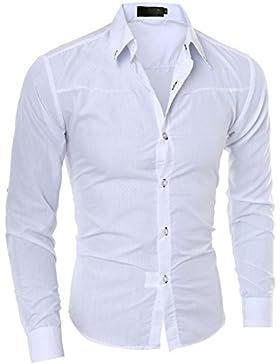 Juleya Camicia Uomo Slim Fit Camicie Formale Manica Lunga Casual Top Tinta Unita Tops Camicia Moderna Morbida...