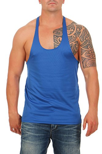 Herren Stringer Bodybuilding Tank Top Muskel Shirt Vest, Größe:S, Farbe:Blau