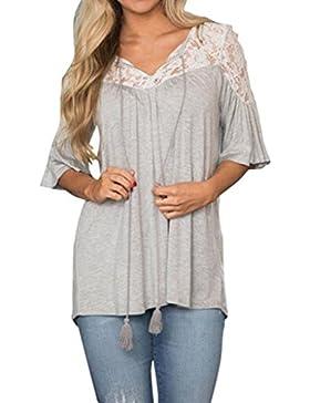 Vovotrade Mujer camisa de manga corta blusa de encaje