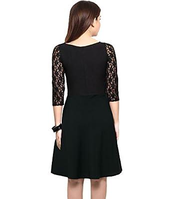 Shiv Retail Black Net&Crepe A-Line Short Dress