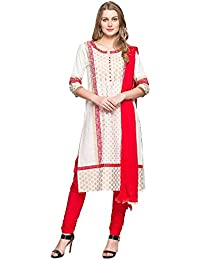 Stop By Shoppers Stop Womens Round Neck Printed Churidar Suit_Off-White