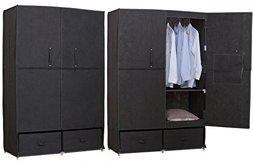 EUGAD 173 Kleiderschrank Garderobenschrank Stoffschrank, Campingschrank Wächeschrank Faltschrank...