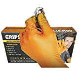 GRIPSTER Skins Orange 6mil Nitrile Inspection Glove with Unique Fishscale Grip - Box 50 (M)
