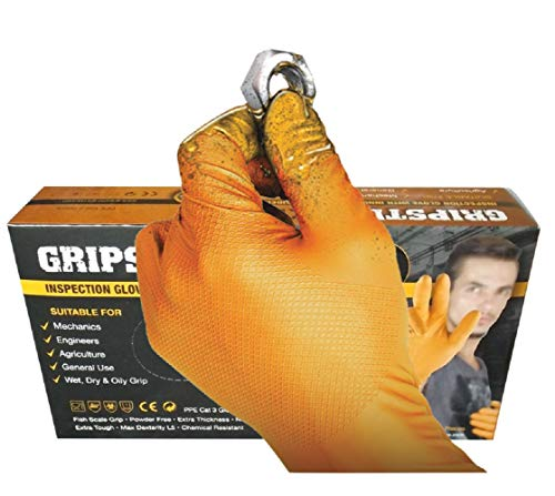 GRIPSTER Skins Orange 6mil Nitrile Inspection Glove with Unique Fishscale Grip - Box 50 (L)