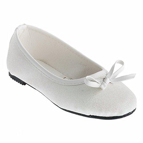 Eva Mode Festliche Mädchen Ballerinas Schuhe Glitzer Schleife in Vielen Farben M527ws Weiß 20