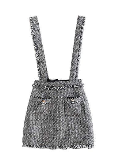 SOLY HUX Damen Mädchen Latzrock Trägerrock Kurz Mini Rock Hosenträger Minirock mit Reißverschluß Grau S