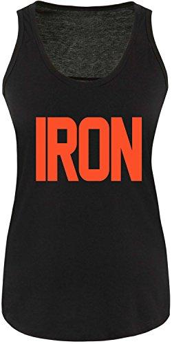 EZYshirt® Iron Damen Tanktop Schwarz/Orange