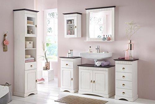 clever-moebel 6 tlg Badmöbel- Set aus Kiefernholz weiß/braun, Badschrank, Badschränke