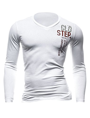 Hommes Pull-over Manches Longues Col V Lettres Impressions Slim Fit T-Shirts Blanc