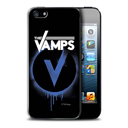 Officiel The Vamps Coque / Etui pour Apple iPhone 5/5S / Blanc/Noir Design / The Vamps Graffiti Logo Groupe Collection Bleu V