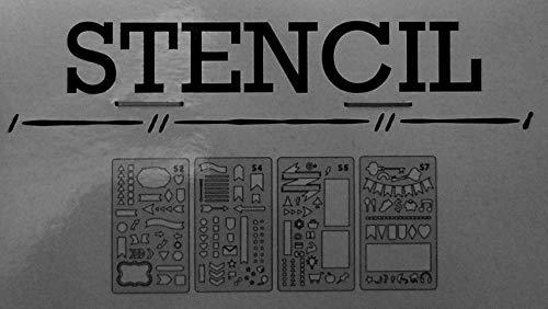 Bullet Journal Schablonen ~ Set mit 4 Schablonen ~ Flaggen, Formen, Schleifen, Banner und mehr (Schablone Us-flagge)