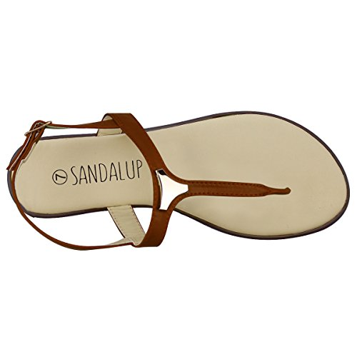 SANDALUP Metallo, Sandalia Donna, marrone, 36