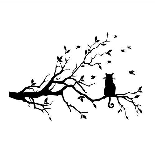 Wandaufkleber Kratzbaum Vögel Tier Vinyl wasserdicht Tapete Wandkunst Aufkleber Hintergrund Kinderzimmer Dekorationen 44x66cm