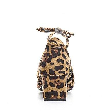 LvYuan Da donna-Sandali-Ufficio e lavoro Formale Casual-Altro-Quadrato-Felpato-Nero Tessuto almond Leopardo Black/Yellow