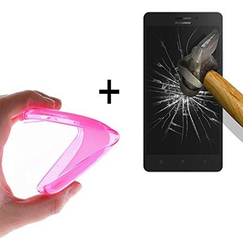 WoowCase - [ Lenovo Vibe Shot Schutzhülle Silikon Rosa [ +1 Schutzglas ] 9H Panzerglas Bildschirm Schutzfolie, Hülle Case TPU