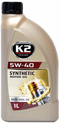 K2 Motoröl, 5W-40, vollsynthetisch, geeignet für Benzin- und Dieselmotore oder Flüssiggasmotore, mit Nanotechnologe, folgende Normen werden unterstützt. ACEA: A3/B3/B4, API: SL/CF, Mercedes Benz: MB 229.3 und Volkswagen VW 502.00 und VW 505.00, 1L