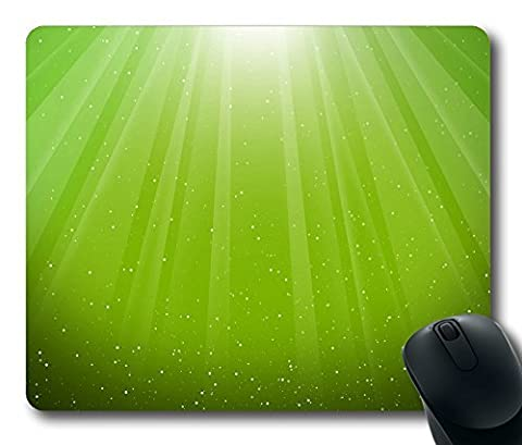 Aurora Burst Lime Green Gaming Mouse Pad Personalized Hot Oblong Shaped Mouse Mat Design Natural Eco Rubber Durable Computer Desk Stationery Accessories Mouse Pads For Gift - Support Wired Wireless or Bluetooth Mouse