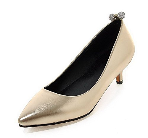 VogueZone009 Femme Pu Cuir à Talon Bas Pointu Mosaïque Tire Chaussures Légeres Doré