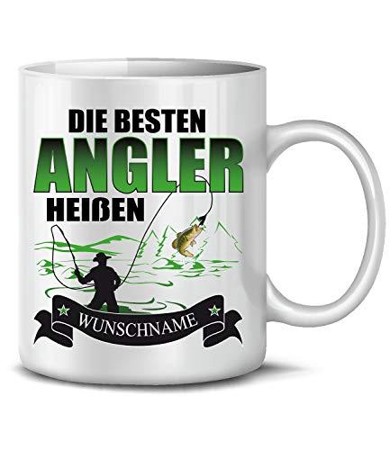 Golebros Die beesten Angler heißen Wunschname 6304 Angel Angeln Anglertasse Anglergeschenk Geschenke Geburtstagsgeschenk Tasse Becher Kaffeetasse Kaffee Weiss