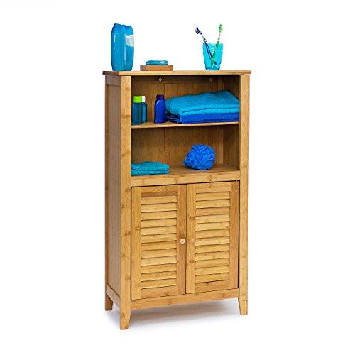 Relaxdays Badezimmerschrank LAMELL aus Bambus HxBxT: ca. 92 x 50 x 25 cm Badschrank mit Türen in Lamellen-Optik Schränkchen fürs Bad oder als Telefonschrank Badschränkchen mit Ablagen aus Holz, natur