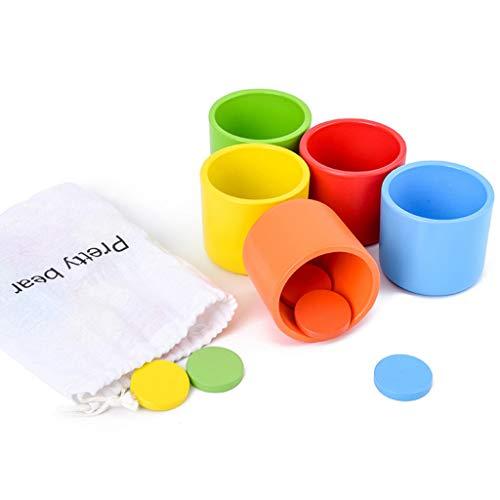 Montessori, taza madera clasificación colores juego