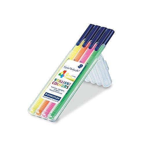 Staedtler Triplus TextSurfer 362 SB4. Rotuladores de colores brillantes de punta fina. Estuche con 4 subrayadores