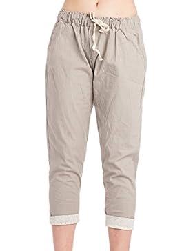 Abbino 802 Pantalones para Mujer - Hecho en ITALIA - 3 Colores - Verano Primavera Algodón Largos Fitness Sport...