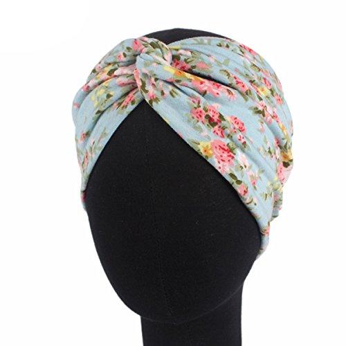 Butterme Damen Mädchen Stirnbänder Elastische Blume Gedruckt Stirnband Retro Baumwolle gestrickte Verdrehte weiche Turban Kopf Verpackungs (Gedruckt Baumwolle Wolle)