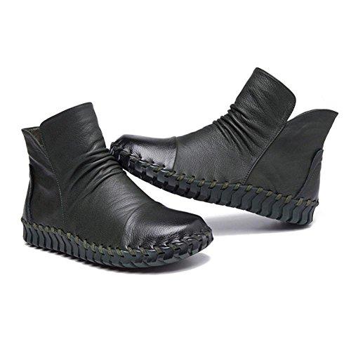 Femmina stivali in pelle cucito a mano retro breve spessa peluche con cerniera tacco piatto caldo scarpe casual, CAMEL-37 GREEN-38