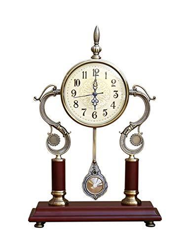 ZYear Relojes de Escritorio de Madera del dragón Retro de los Relojes únicos para la Tabla de la decoración del Dormitorio de la Sala de Estar