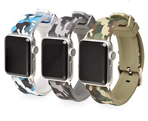 QIONGQIONG Iwatch Apple Watch Belt 38/42Mm Silikon Camouflage Armband Edelstahl Buckle Ersatz Sport Casual Edition Für Männer Frauen,F,42MM -