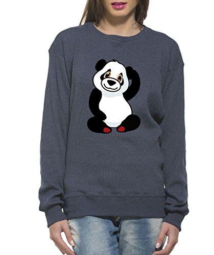 Clifton Women's Printed Sweat Shirt R-neck -navy Melange-Panda-XL